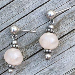 Vintage sterling rose quartz earrings